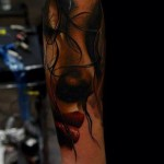 Eye Closed Red Lips tattoo