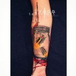 Fireflies in Jar Arm tattoo