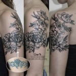 Flowers on Shoulder Cover Up tattoo