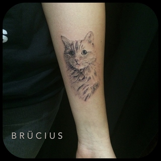 Fluffy Kitty tattoo on Arm