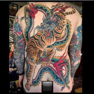 Full Back Insane Tiger and Dragon tattoo