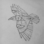 Geometry Crow Bird tattoo design