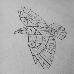 Geometry Crow Bird tattoo design