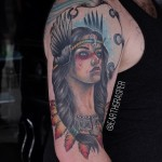 Girl Warrior tattoo on Shoulder