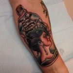 Girl and Ship in a Bottle Nautical tattoo