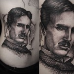 Graphic Nikola Tesla tattoo