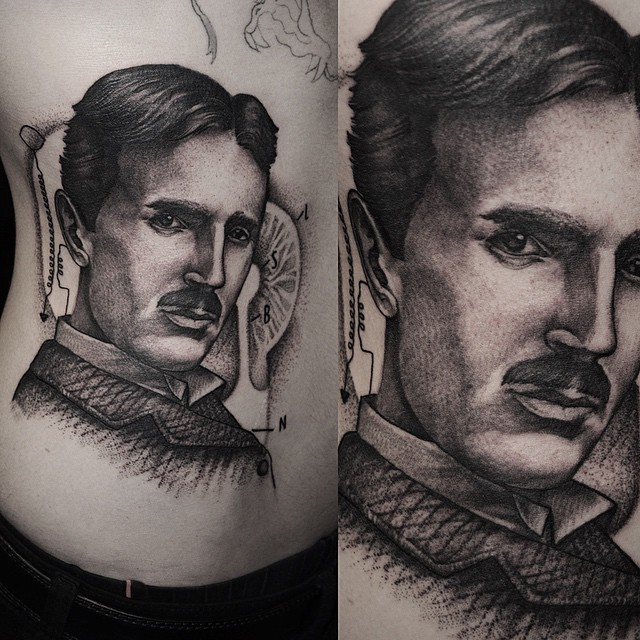 Graphic Nikola Tesla tattoo