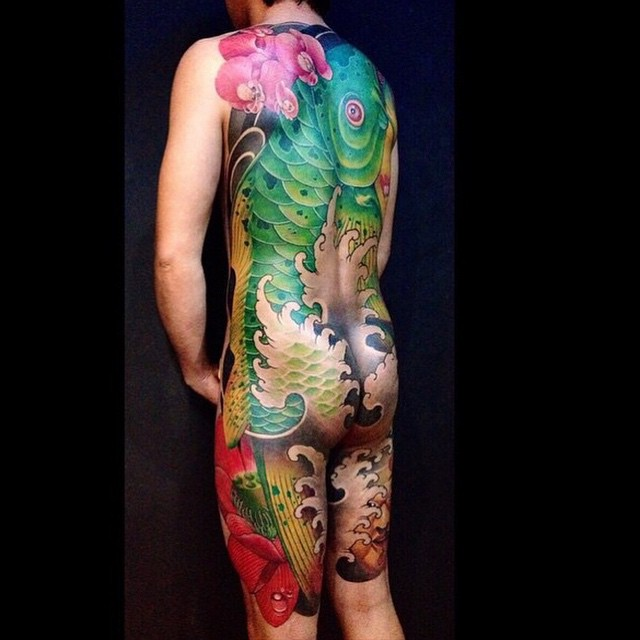 Green Giant Fish Back Japanese tattoo