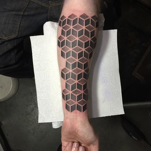 Grey Cubes tattoo on Arm