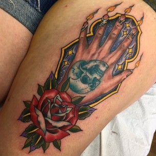 Hand of Glory tattoo on Thigh