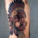 Hard Breath Indian Bison tattoo