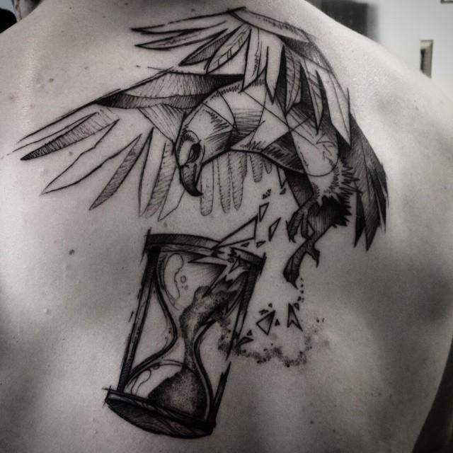 Hawk Break Hourglass tattoo on Back
