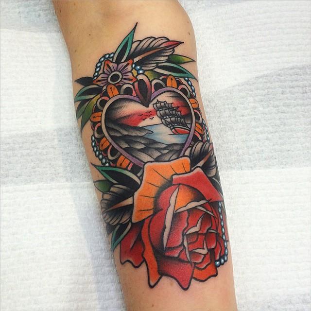 Heart Frame Ship tattoo