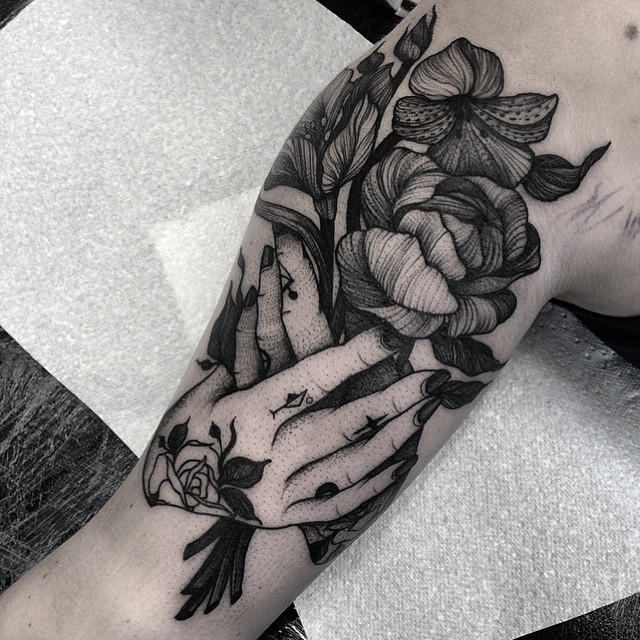 Inked Hands and Bouquet
