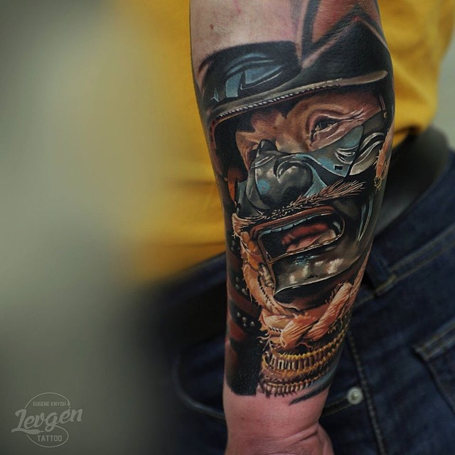 Japanese Warrior Mask tattoo on Arm