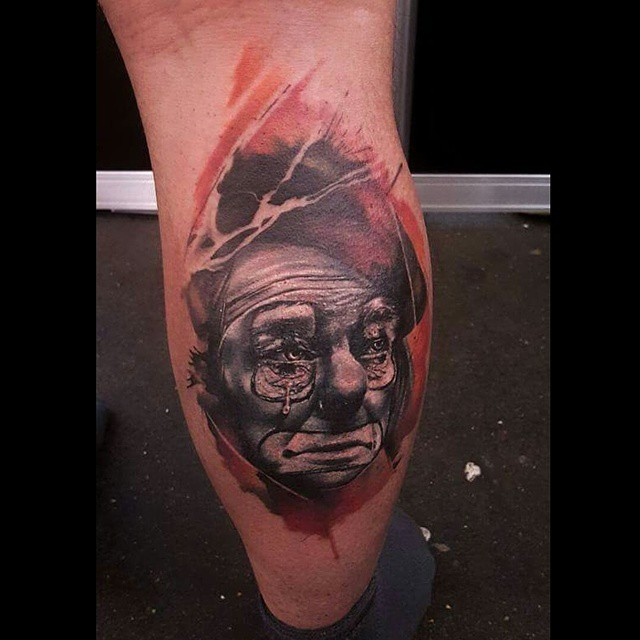 Leg 3D Sad Clown tattoo