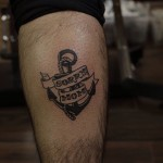 Leg Anchor Sorry Mom Lettering tattoo
