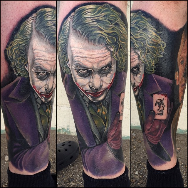 Leg Batman Joker tattoo