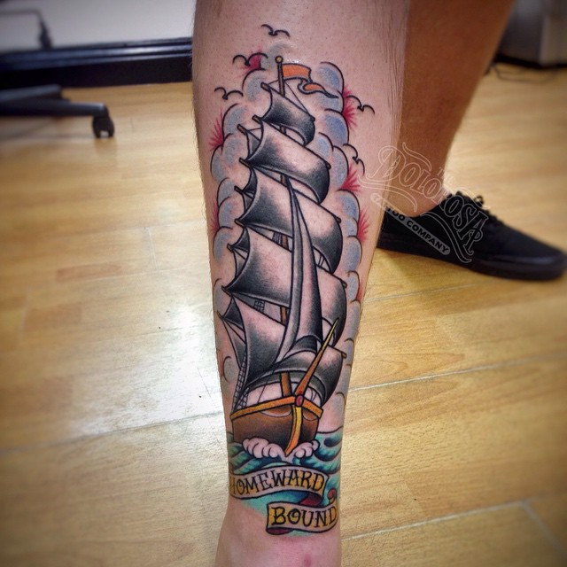 Leg Ship Homeward Bound tattoo