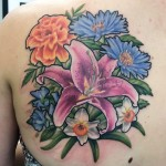 Lily Narcissus and Other Flowers Bouquet tattoo