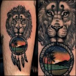 Lion Beach Dream Catcher tattoo