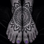 Matching Mandala Dotwork tattoos on feet