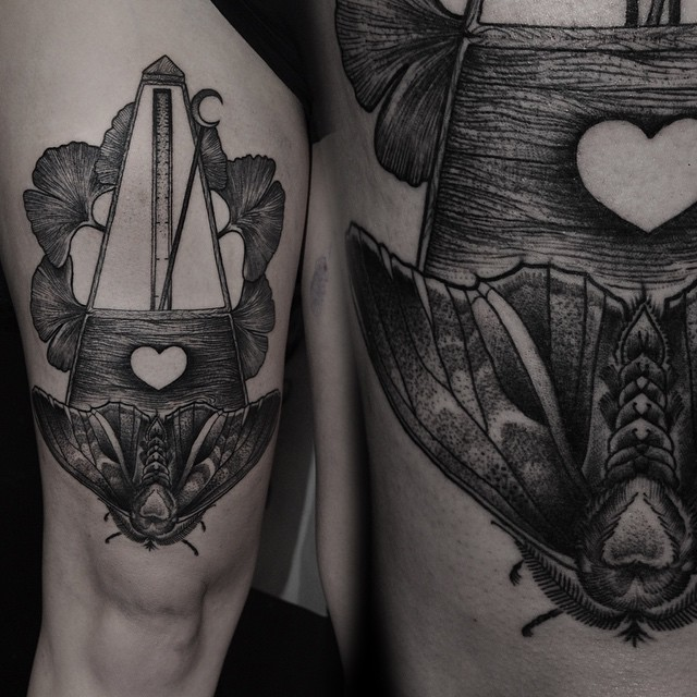 Moth Metronome tattoo