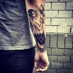 Mermaid Skeleton Tail Arm tattoo
