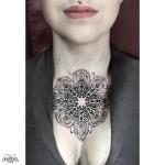 Neck Chest Mandala Dotwork tattoo for girl