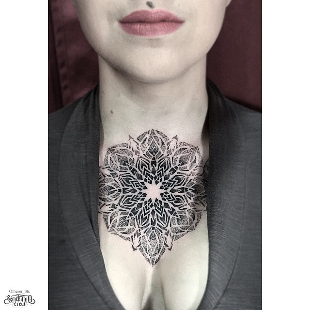 Neck Chest Mandala Dotwork tattoo for girl