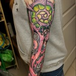 Organic Cogwheel  Biomechanical Tattoo Sleeve