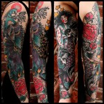 Peacock and Geisha Mermaid Tattoo Sleeve