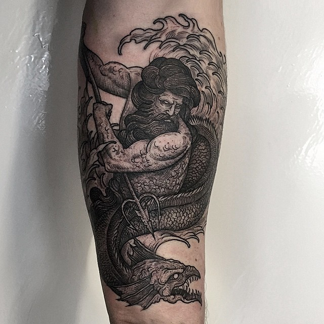 Poseidon Atacking Hydra tattoo