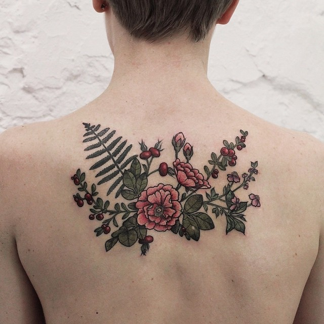 Pretty flowers and berries tattoo on back best tattoo ideas gallery pretty flowers and berries tattoo on back mightylinksfo
