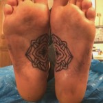 Real Feet Matching Flower tattoos