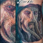 Realistic Davy Jones tattoo