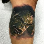Realistic Hulk Smash tattoo