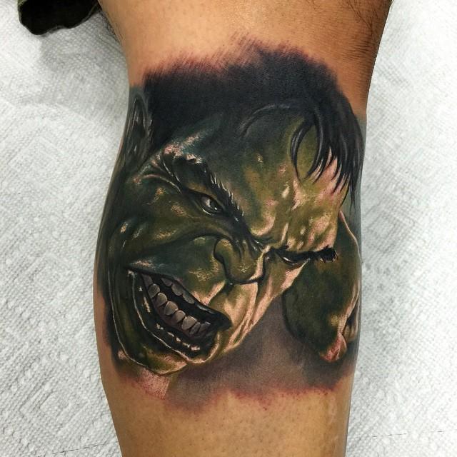 Realistic Hulk Smash tattoo