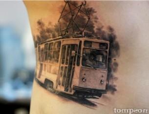 Realistic Tram tattoo