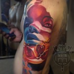 Red Blue Skeleton Girl tattoo