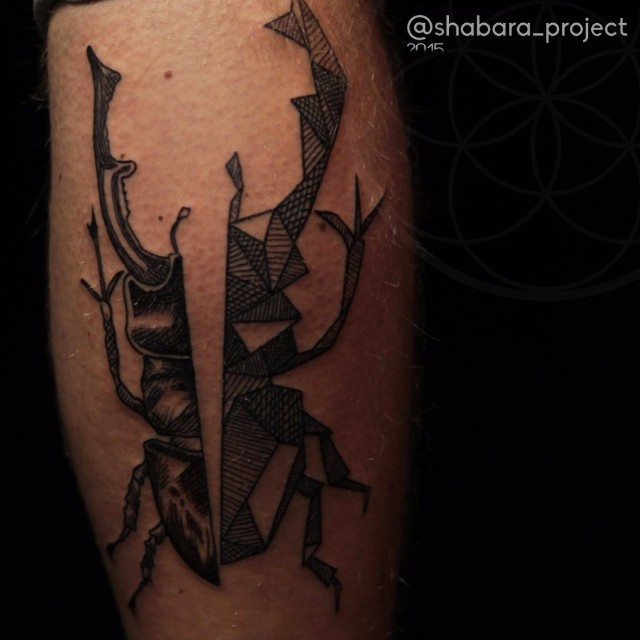 Schematic and Greal Stag-Beetle tattoo