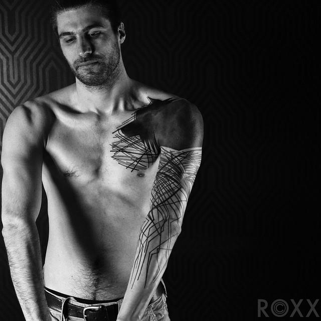 Scratched Blackwork Tattoo Sleeve