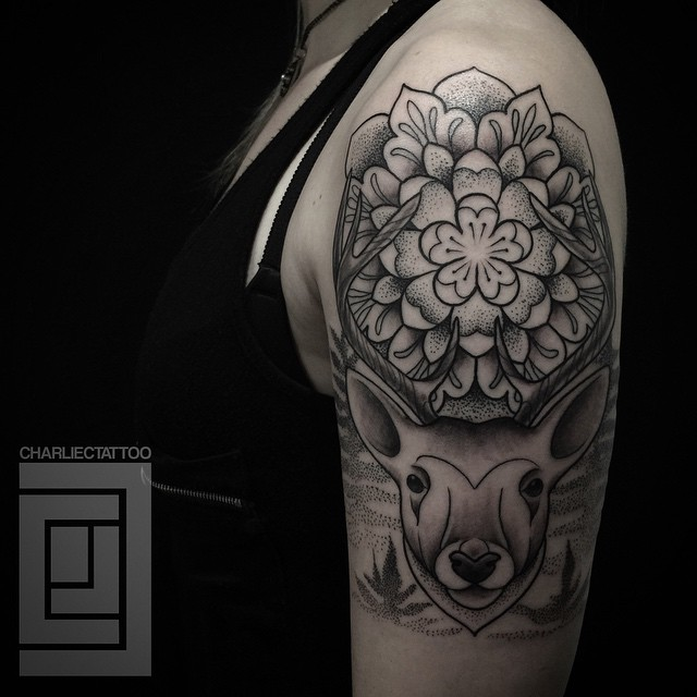 Shoulder Flower Deer tattoo