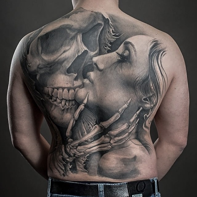 Skeleton Kiss Back tattoo