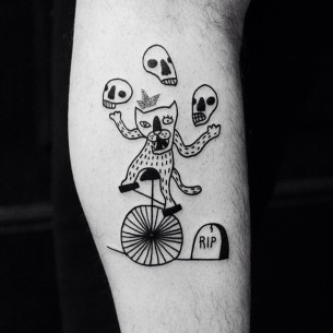 Skull Juggling Wolf tattoo