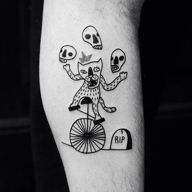 Skull Juggling Wolf tattoo