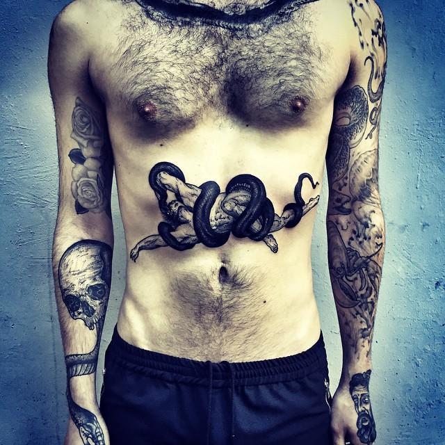 Snake Choked Man tattoo