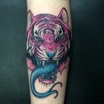 Snake Tongue Tiger tattoo