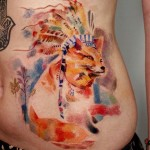 Southern America Fox Watercolor tattoo