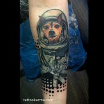 Space Dog Arm tattoo